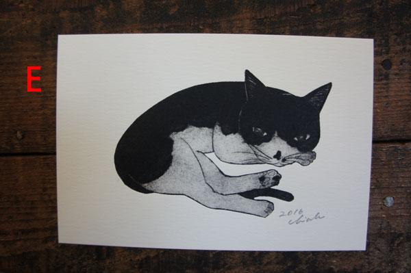 坂本千明版画猫ハガキe