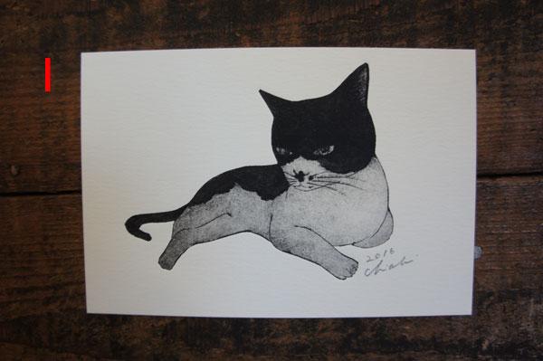 坂本千明版画猫ハガキi
